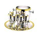 Наборы для алкогольных напитков, позолоченные, посеребренные и стальные