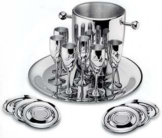 Набор стальных бокалов для шампанского Ла Перле